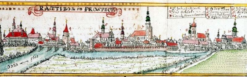 Widok Raciborza; około 1750 r.; F.B. Werner: Topographia Silesiae…Muzeum Narodowe we Wrocławiu, Zbiory ikonograficzne.
